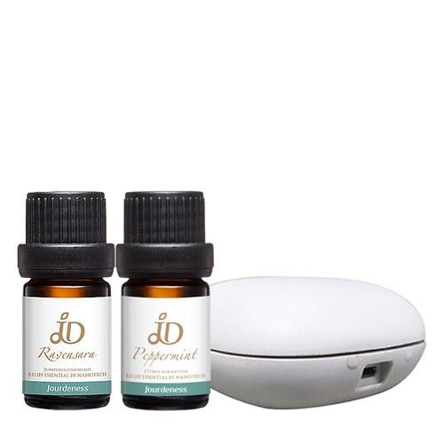 沁涼防禦組-JD羅文莎葉精油5ml+JD薄荷精油5ml+北歐風行動香氛機