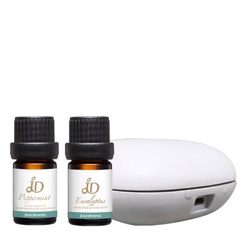 夏日提神精油組-JD薄荷精油5ml+JD尤加利精油5ml+北歐風行動香氛機
