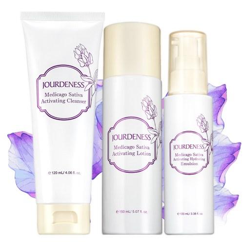 紫花苜蓿活妍潔膚乳120ml+化妝水150ml+保濕乳100ml贈品牌帆布袋