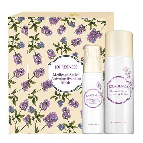 紫花苜蓿活妍化妝水150ml+保濕乳100ml+面膜5片/盒x2贈品牌帆布袋