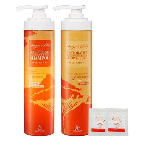 龍血求麗潤澤修護沐浴乳500ml+龍血求麗頭皮修護洗髮精500ml贈龍血修護霜3mlx2