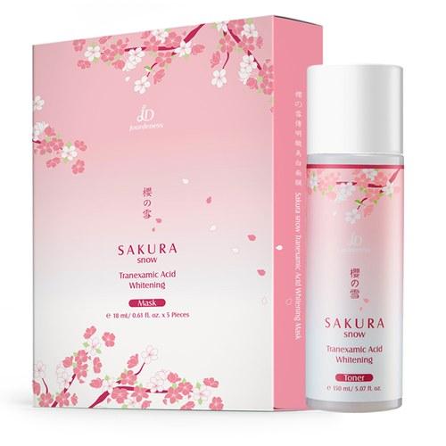 櫻の雪傳明酸美白化妝水150ml+面膜5片/盒贈美白面膜x1片