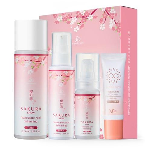 櫻の雪美白全套組+光感保濕CC霜30g(自然色)