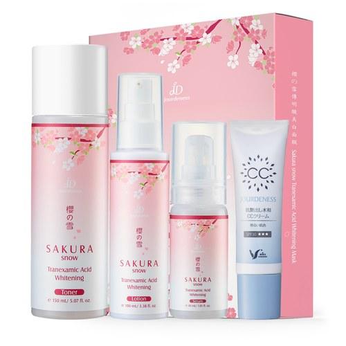 櫻の雪美白全套組+光感保濕CC霜30g(亮膚色)