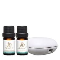 防禦修護組-JD羅文莎葉精油5ml+JD花梨木香氛油5ml+北歐風行動香氛機