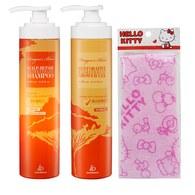 龍血求麗潤澤護修沐浴乳500ml+頭皮修護洗髮精500ml 贈Kitty沐浴巾